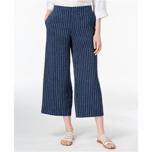 Eileen Fisher wide leg cropped linen pant striped